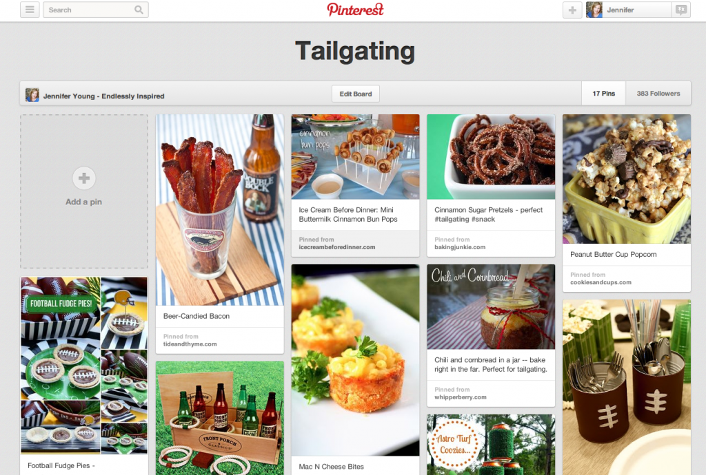 Tailgating Pinterest board by Endlessly Inspired