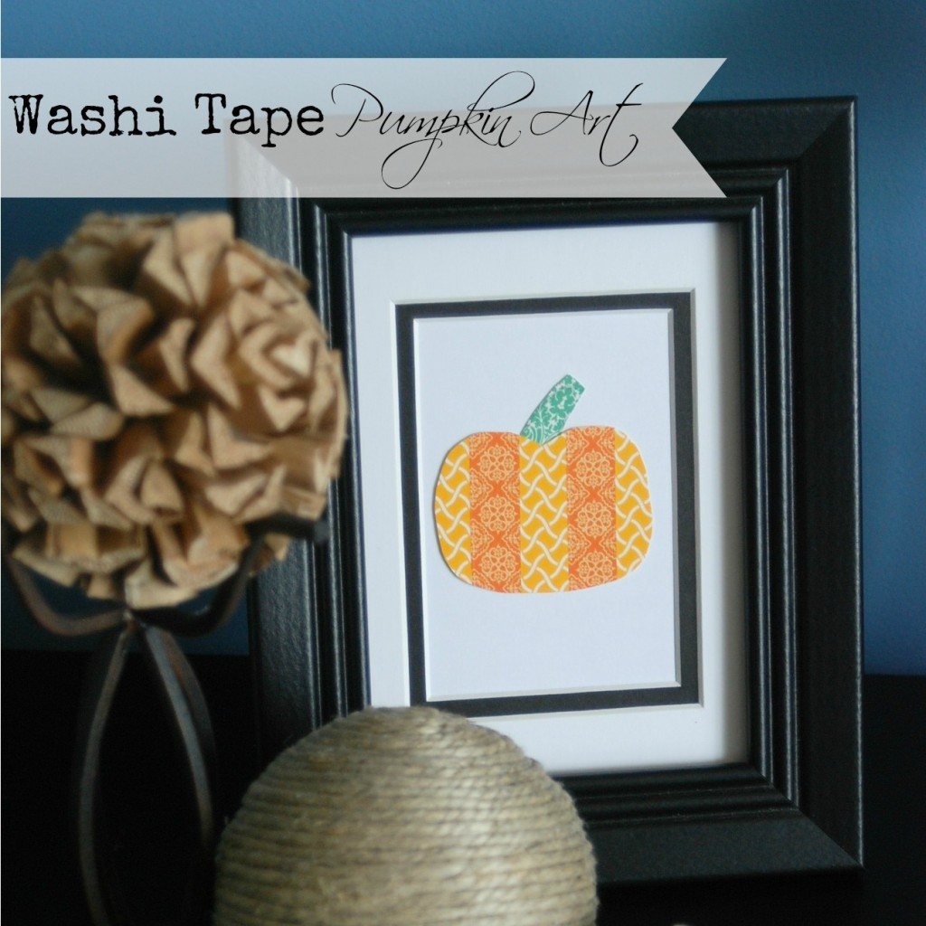 Make a cute framed pumpkin out of washi tape. Adorable fall decor in less than 5 mnutes!