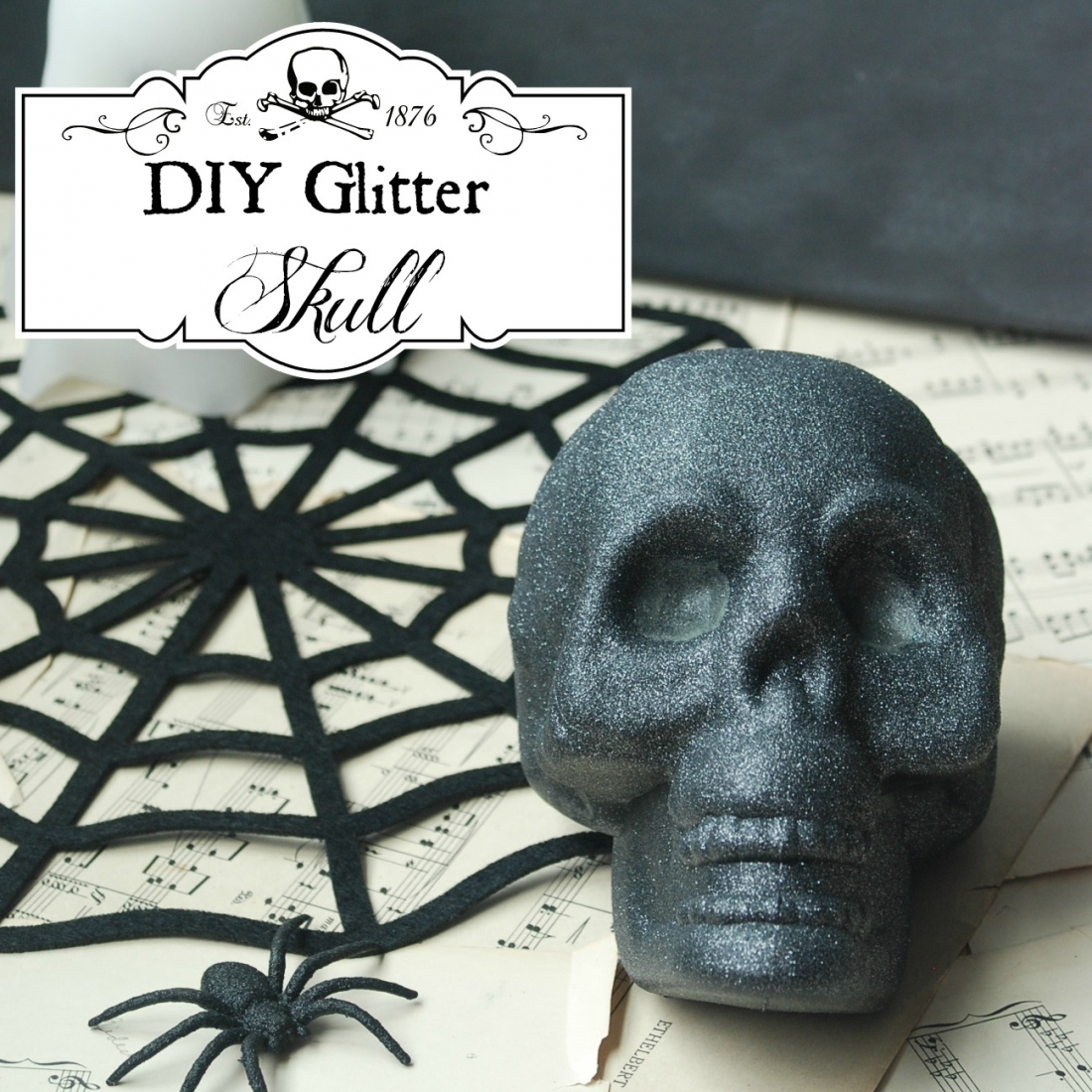 Transform a dollar store skull into a cool, creepy, glittery decoration