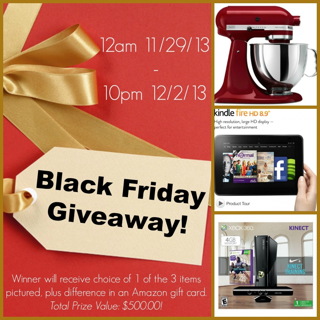 Win your choice of three amazing prizes -- a KitchenAid stand mixer, Kindle Fire or XBox Kinect Nike+ Bundle -- plus an Amazon gift card, for a total prize value of $500!!