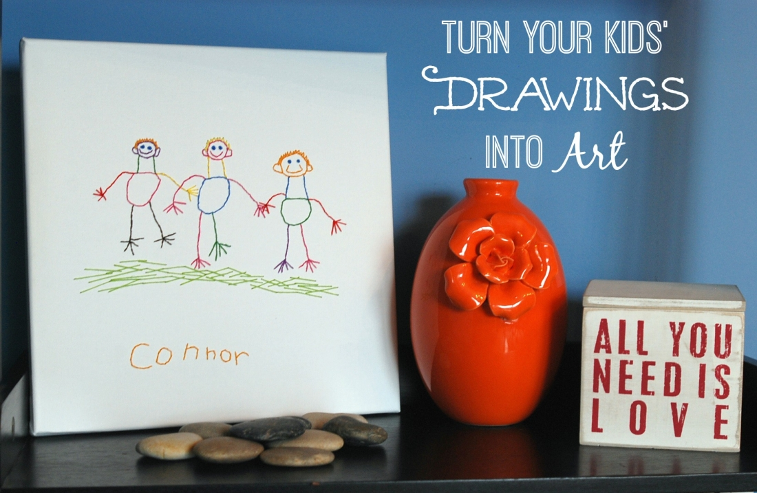 Use simple embroidery stitches to transfer your kids' drawings to canvas and create permanent artwork!