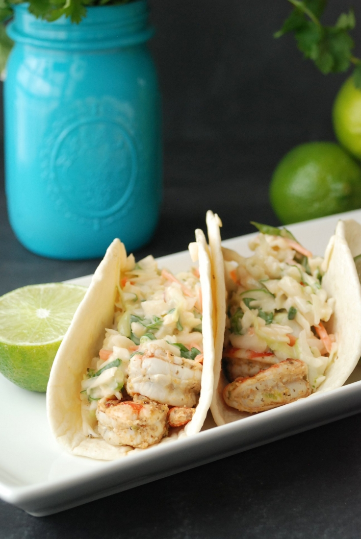 Grilled Shrimp Tacos with Sweet Chili Slaw -- a quick, light and refreshing lunch or dinner