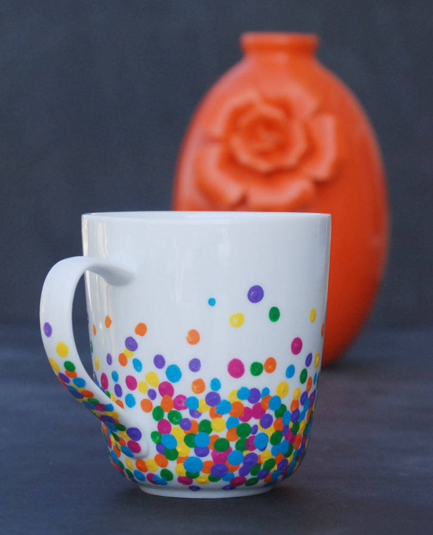 Diy polka dot mug endlessly inspired for Paint and pottery