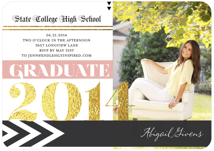 Create a beautiful pink and gold-themed graduation party, inspired by a Tiny Prints invitation.