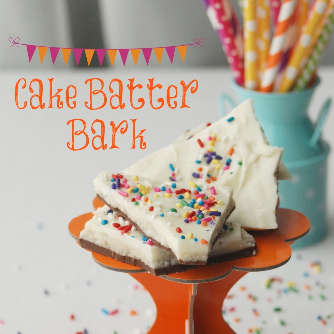Cake Batter Bark: Sweet, delicious cake batter sandwiched between layers of milk and white chocolate. What a fun treat, and way easier than cake pops!