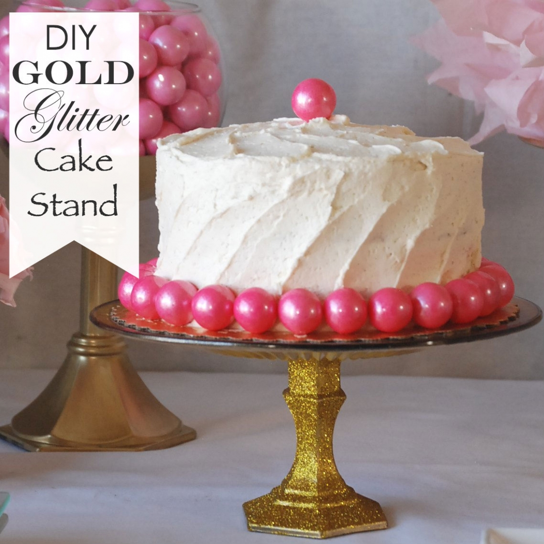 Diy gold glitter cake stand endlessly inspired for How to make a cake stand