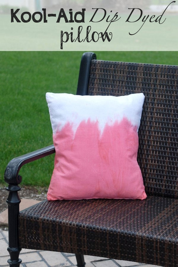Use Kool-Aid to dip dye a plain pillow cover. You also won't believe what the pillow is stuffed with! Great recycling trick! #KoolOff #CollectiveBias #shop