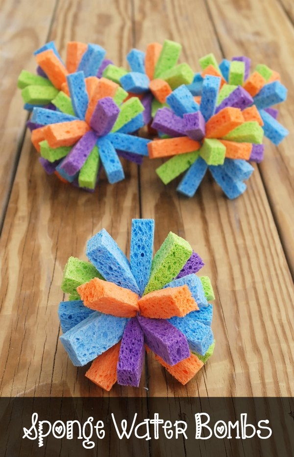 DIY Sponge Water Bombs Summer Kids Craft Tutorial via Endlessly Inspired - These are so easy and inexpensive to make, but they create endless hours of summer fun!