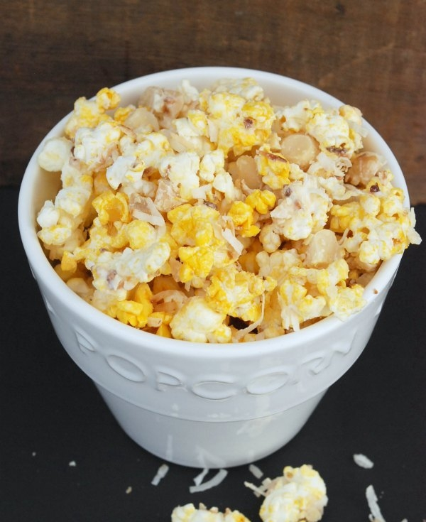 White Chocolate Macadamia Nut Popcorn with Toasted Coconut. Quick, easy and amazingly delicious!