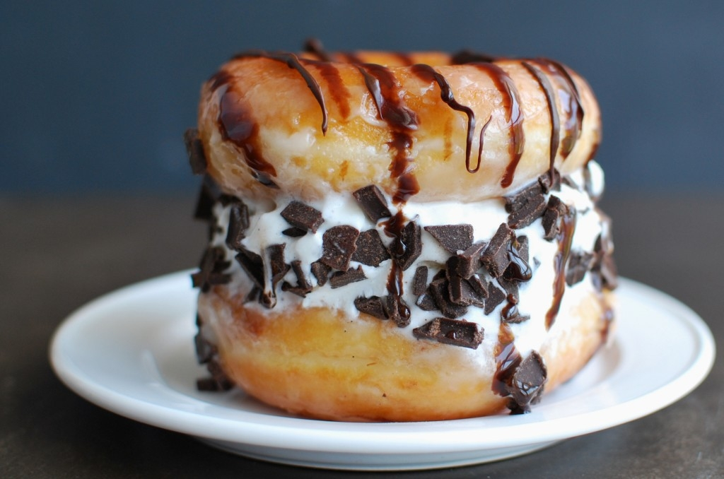 Ice cream sandwiches made with Krispy Kreme donuts. Holy cow.