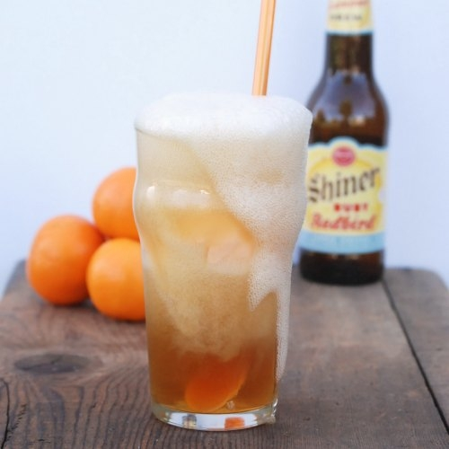 How have I never thought to make a grown-up float before? Beer and orange sherbet -- could not be more refreshing!