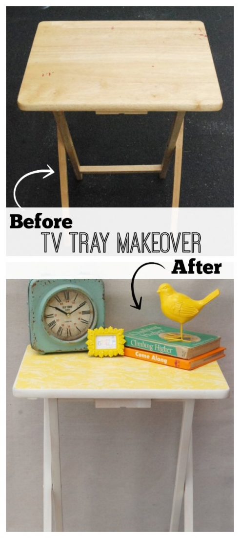 Take those boring old TV trays into a whole new world with a little spray paint and some wrapping paper!