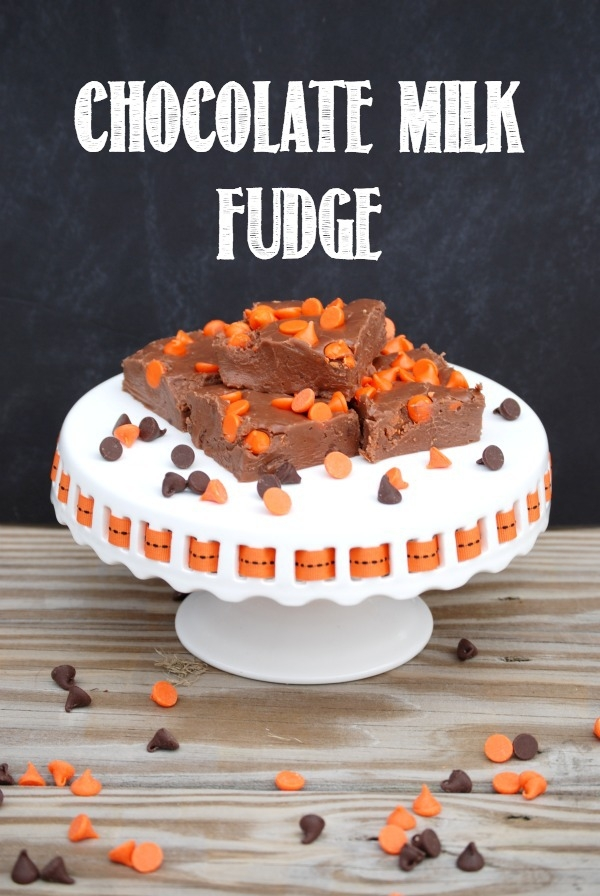 This chocolate milk fudge is smooth, creamy, and amazing. No candy thermometer needed! #31DaysofHalloween #TruMooHalloween