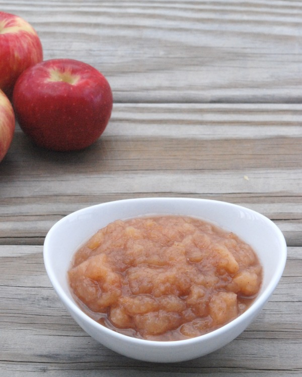 This chunky applesauce is so delicious, and could not be easier to make! Just throw everything in the slow cooker!