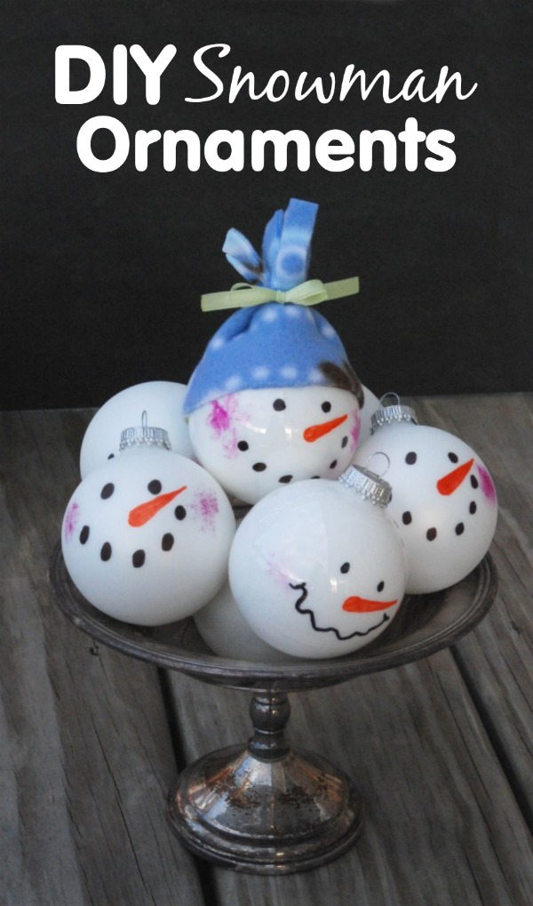 These DIY snowman ornaments are so cute, and they are so easy to make, even kids can do it!