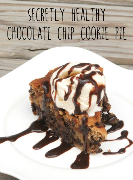 This chocolate chip cookie pie is so gooey and chocolatey and delicious, it's hard to believe that it's actually relatively healthy! And you will never guess what the secret ingredient is!