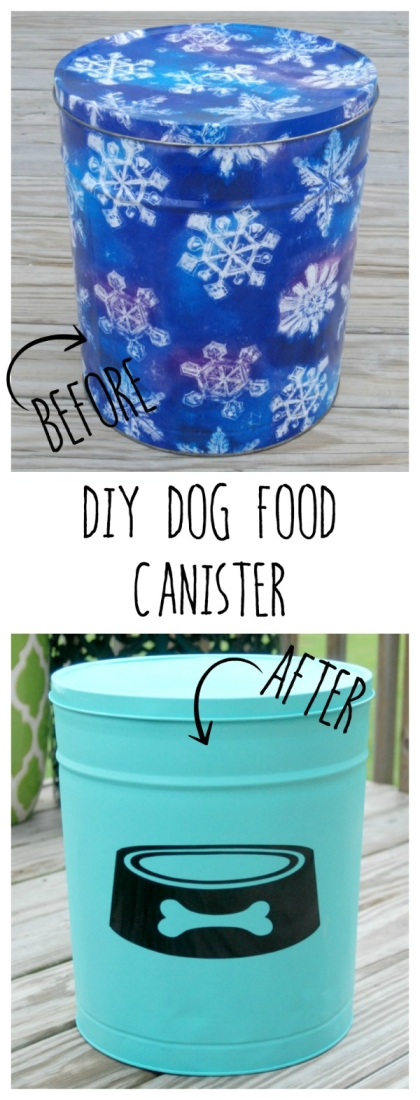 Use an old popcorn tin from the thrift store, some spray paint and a vinyl decal to make a super cute DIY Dog Food Canister!
