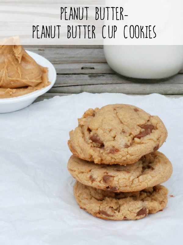 Soft, chewy peanut butter cookies stuffed chock-full of peanut butter cup pieces. Truly one of the best cookies I've ever eaten.