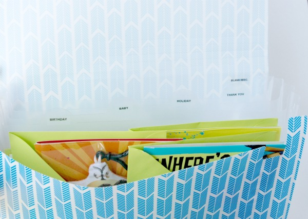 What a great idea: buy inexpensive greeting cards and file them according to occasion in an accordion file. Never get stuck without a card when you need one again! #SendSmiles #ad