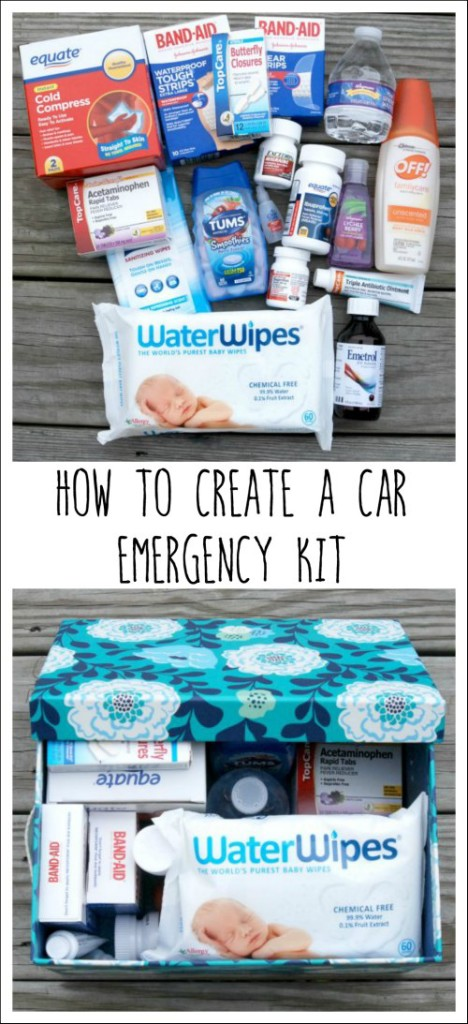 Learn how to create an emergency kit for your car that's stocked with medicine, first aid items, hand sanitizer, Water Wipes baby wipes and more!