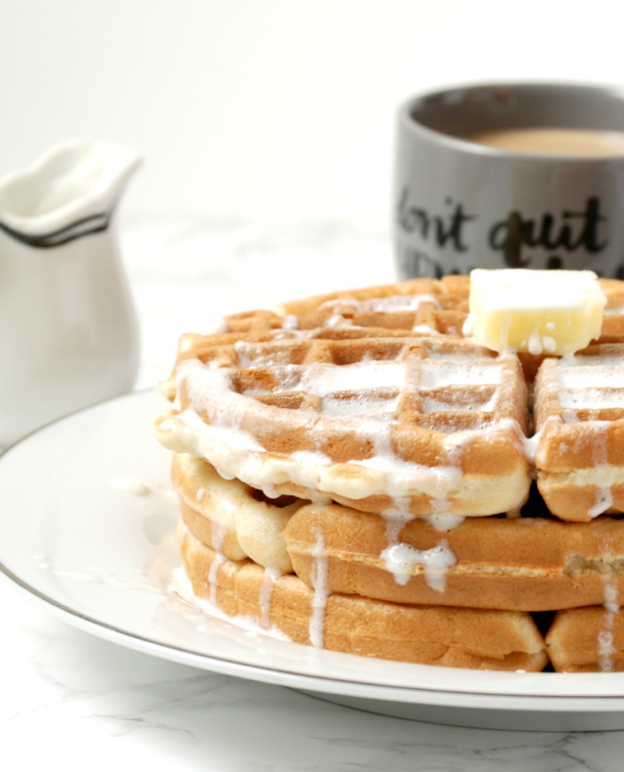 Sweet, crispy waffles made from boxed pancake/waffle mix but jazzed up with a secret ingredient. #ad #splashofdelight