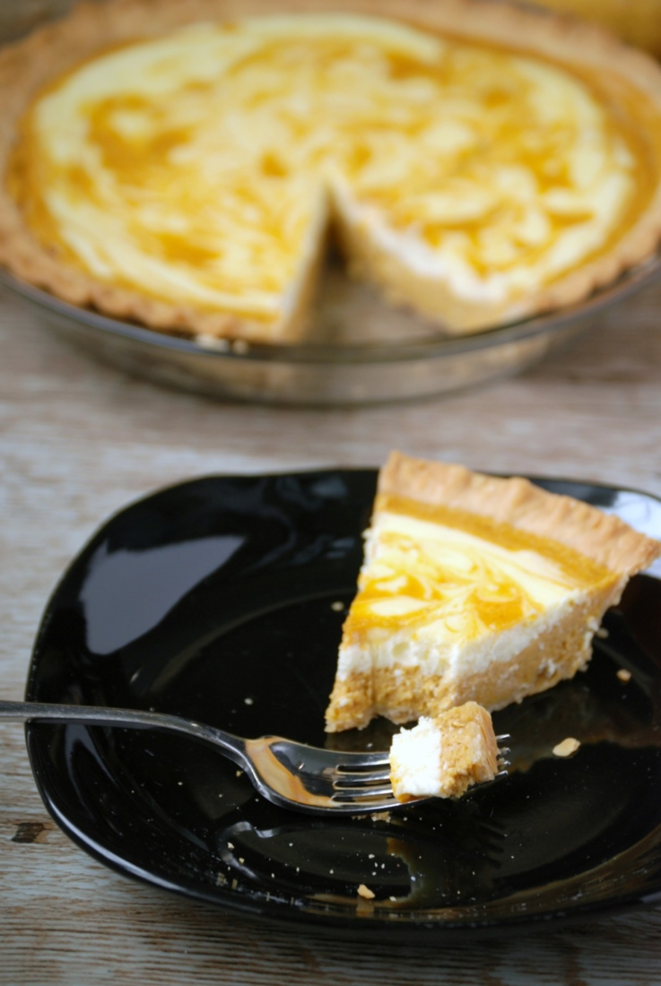For a twist on a traditional pumpkin pie, bake in a swirl of cheesecake!