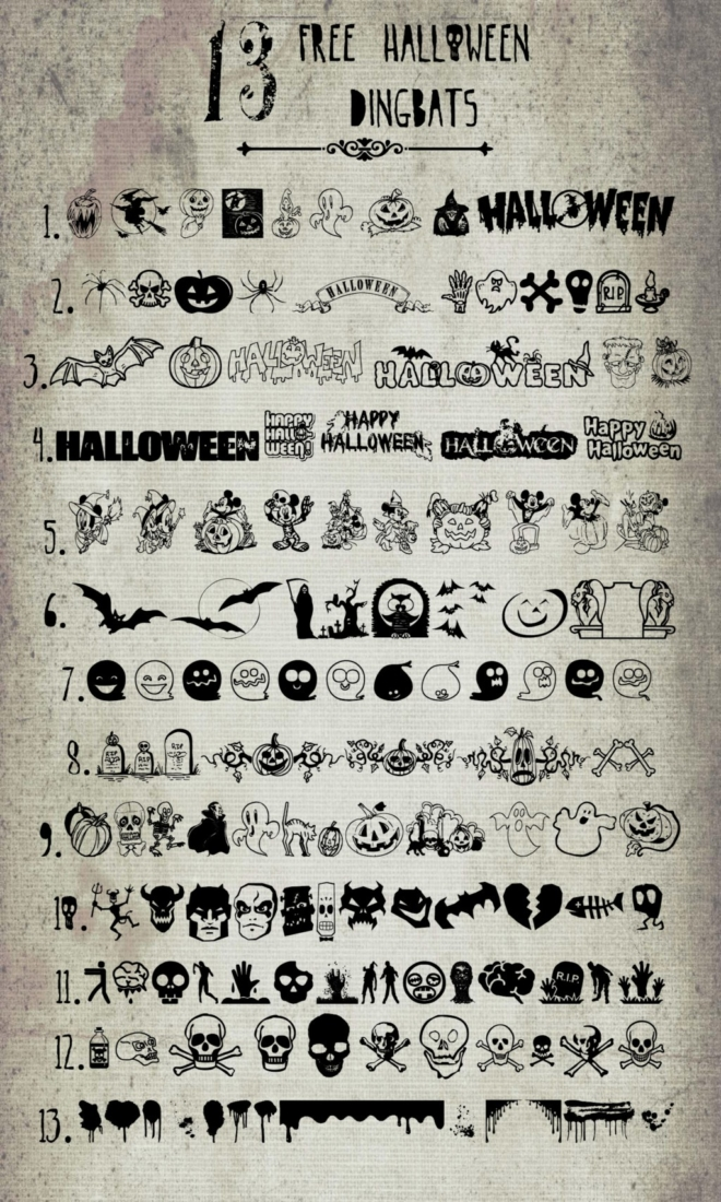 13 fun Halloween dingbat fonts that are free to download for personal use.