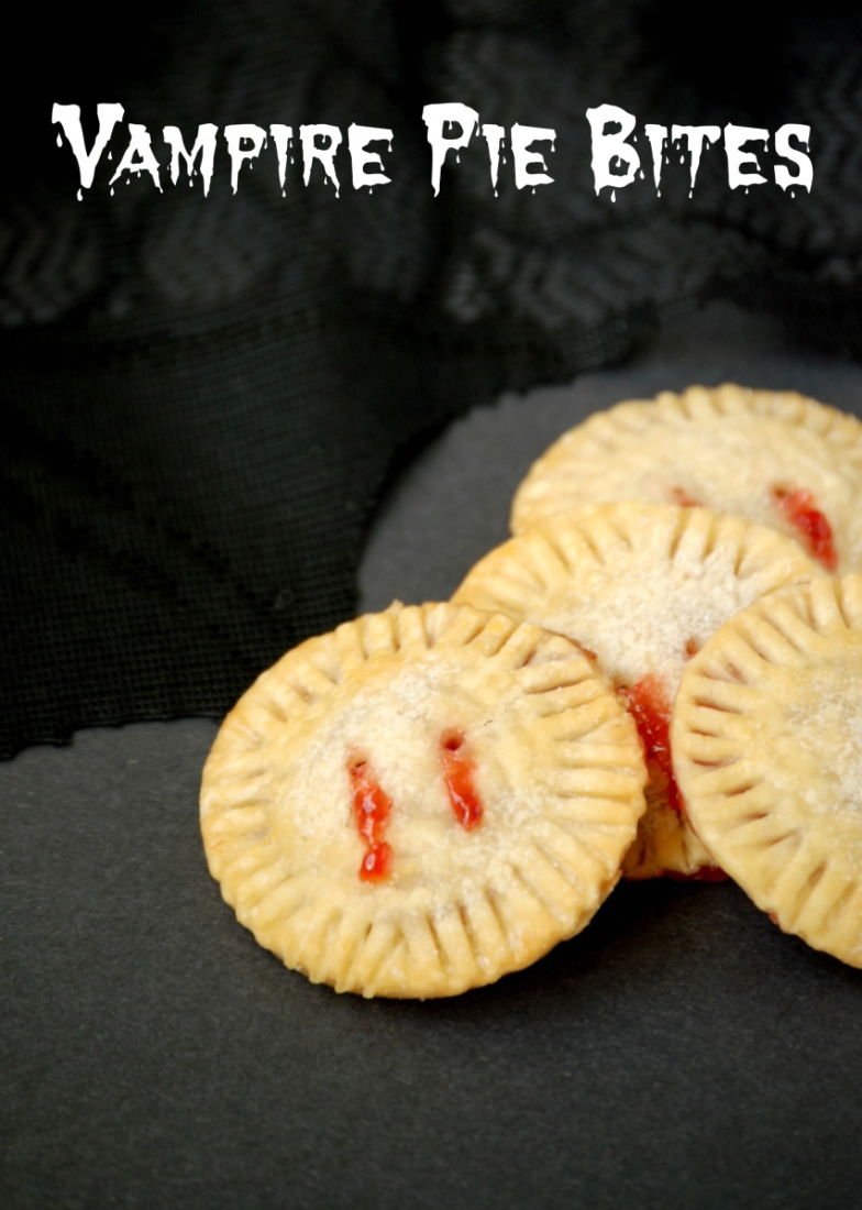"Strawberry jam oozes from ""bite marks"" in these fun and easy Vampire Pie Bites!"