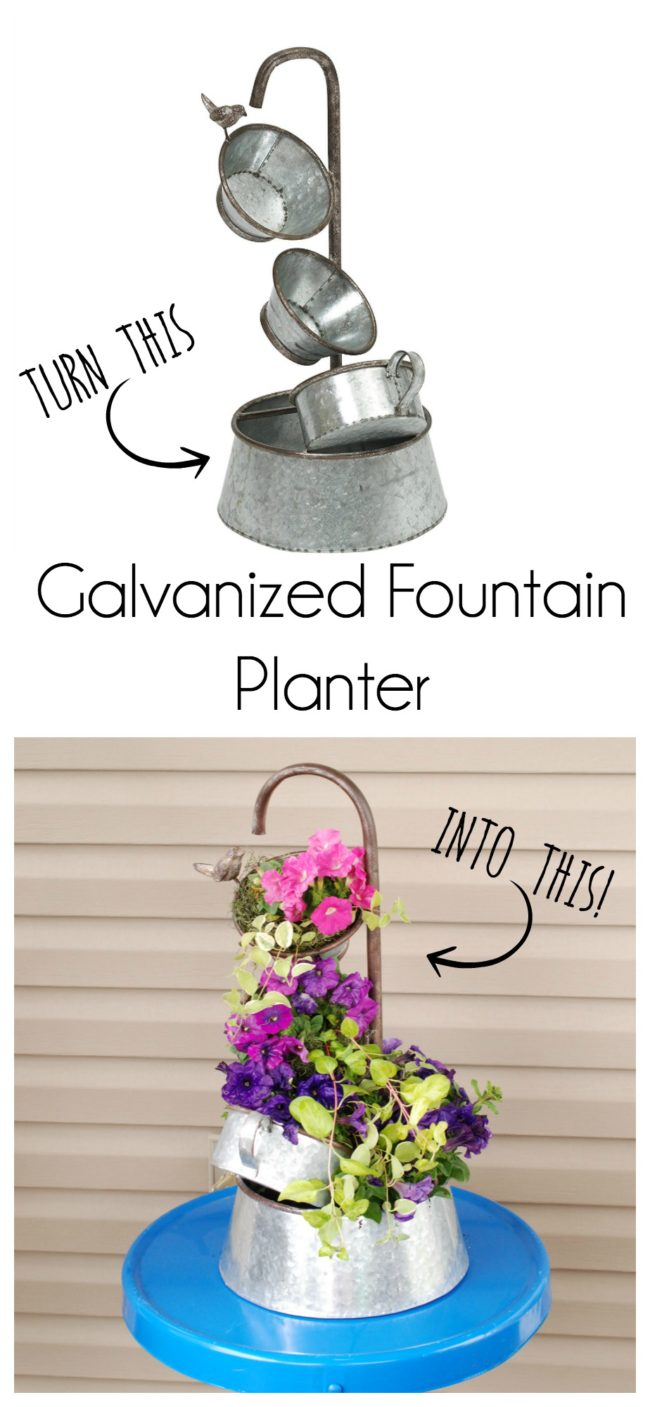 Turn a galvanized metal fountain into a beautiful planter.